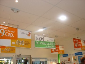 Retractable Signage - hung from drop ceiling