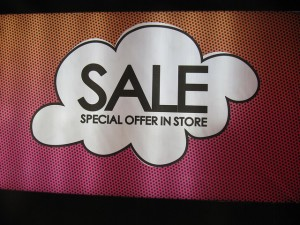 sale signage in store