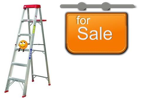 ladder and hanging signage