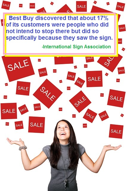 retail signage sale happy customer