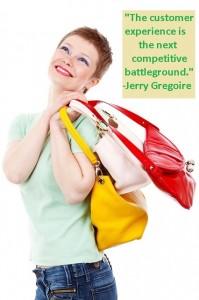 woman happy retail shopping